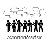 Stick figure dialog communication speech bubbles set. Talking, thinking, body language group of people conversation icon pictogram