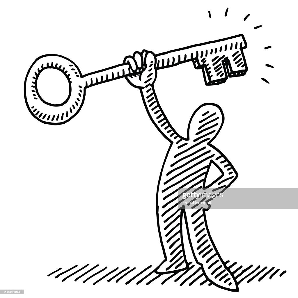 Line Drawing Key : Stick figure holding a key drawing vector art getty images