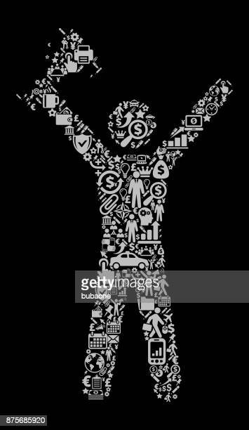 Stick Figure Holding a Trophy Icon Business and Finance Vector Icon Pattern