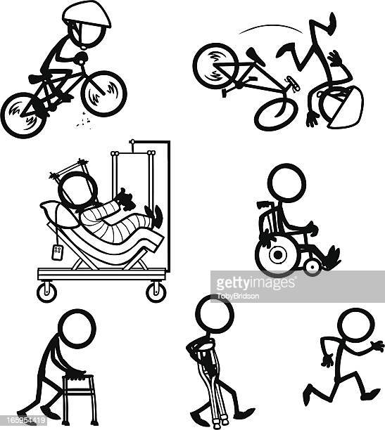 Stick Figure People Bike Accident Recovery