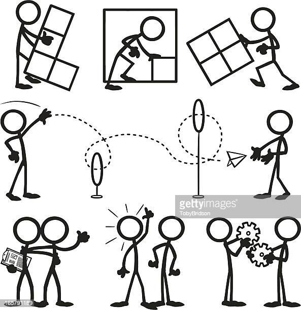 Stick Figure People Business Working Together