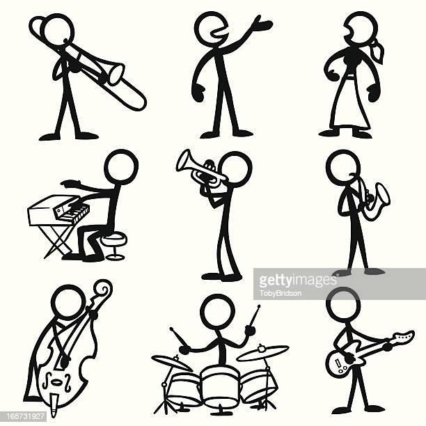Stick Figure People Jazz Musicians