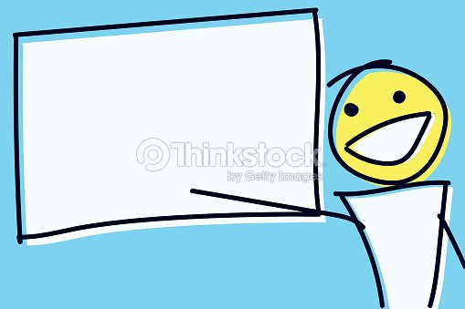 stick figure pointing at empty board vector illustration for