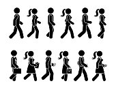 Stick figure walking man and woman vector icon pictogram. Group of people moving forward sequence set