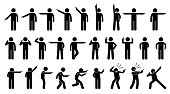 A set of stick figures showing a man pointing in different directions on different poses and positions.
