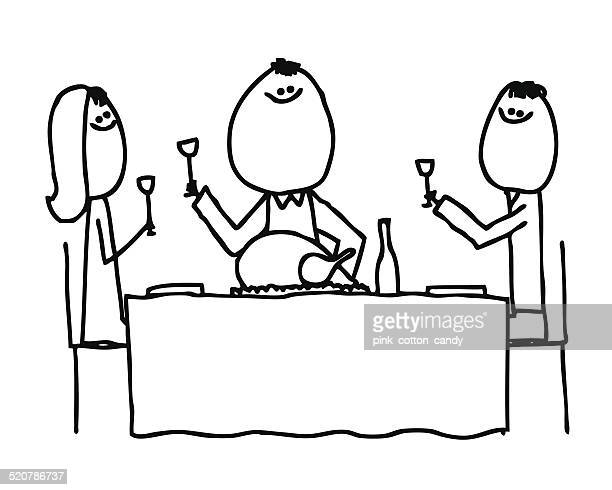 Dinner Wine Drawing Stock Illustrations And Cartoons