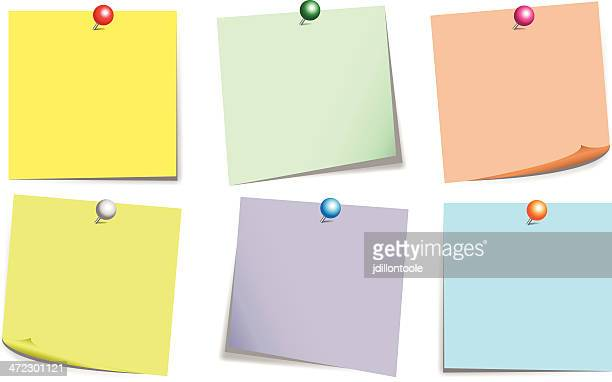 Sticky Notes Color Set With Push Pin
