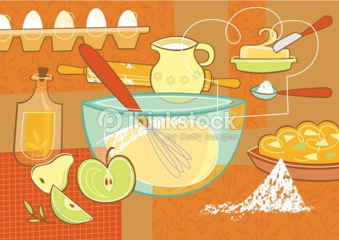 Still Life With Baking Supplies Vector Art
