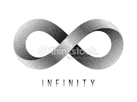 Stippled Infinity Sign Mobius Strip Symbol Vector Illustration