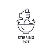 stirring pot line icon, outline sign, linear symbol, flat vector illustration