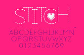 Stitched font, alphabet and numbers vector illustration