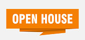 open house sign. open house paper origami speech bubble. open house tag. open house banner