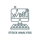Stock analysis vector line icon, outline concept, linear sign
