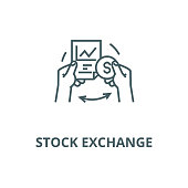 Stock exchange vector line icon, outline concept, linear sign