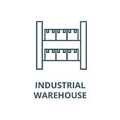 Stock, industrial warehouse  vector line icon, outline concept, linear sign