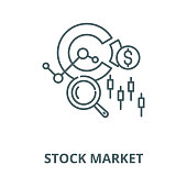 Stock market vector line icon, outline concept, linear sign