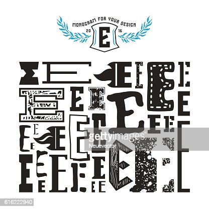 Stock vector set of monograms and initial letter E : Vector Art