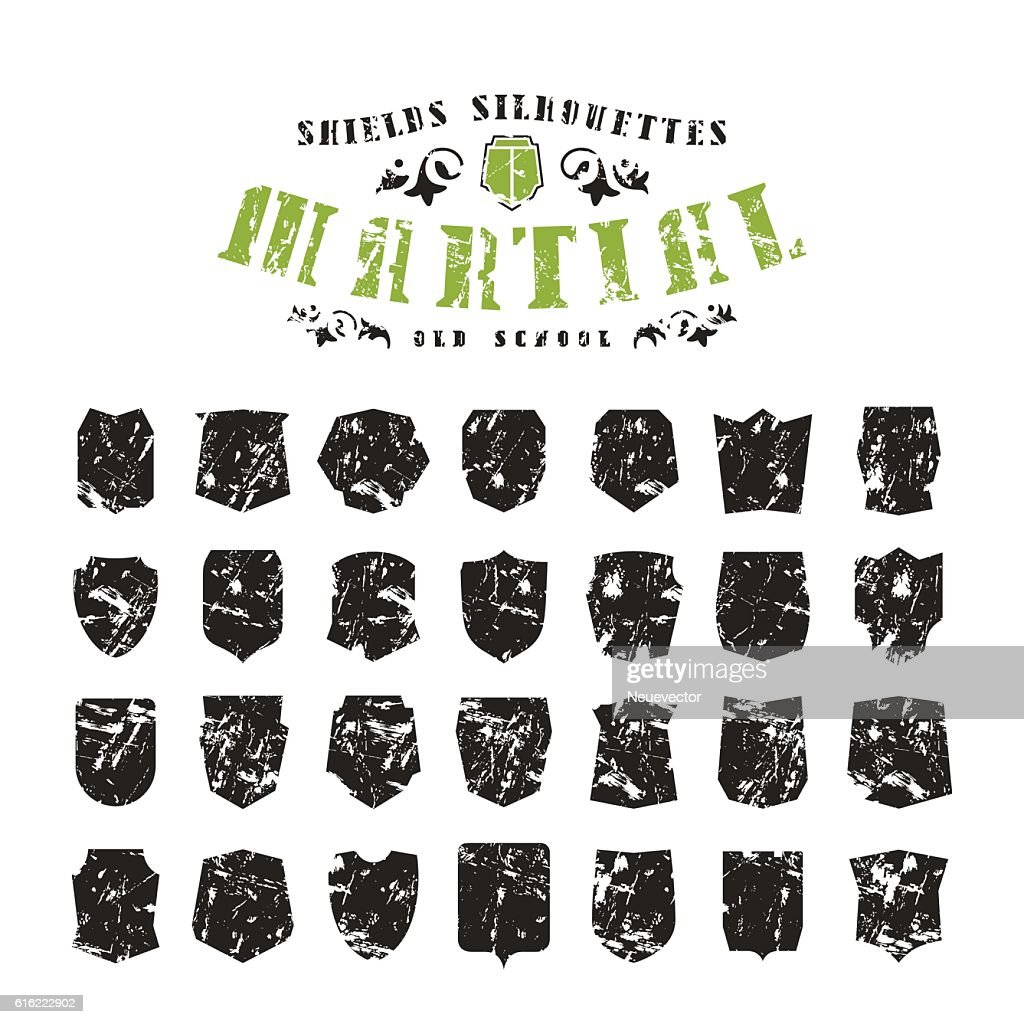Stock vector set of shields silhouettes : Vector Art