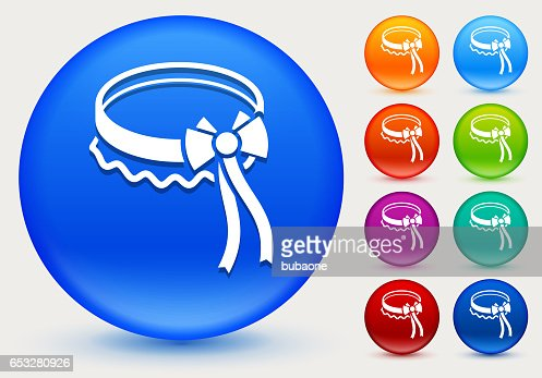 stocking lace Icon on Shiny Color Circle Buttons : Vector Art