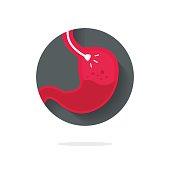 Stomach endoscopy vector icon, flat cartoon endoscope in stomach through esophagus, gastroscopy icon symbol idea