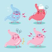 cute cartoon stomach with health concept