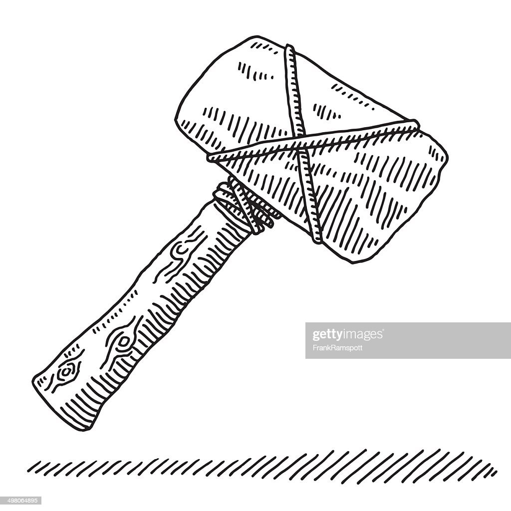 Stone Age Tool Hammer Drawing Vector Art | Getty Images