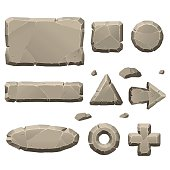 Stone game design elements in vector
