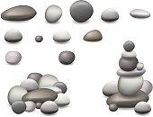 Set pebbles and natural stones of different shapes and colors. With examples of use. Vector realistic illustration, isolated on white background.