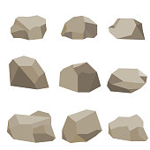 Stones, a set of stones. Flat design, vector illustration, vector.