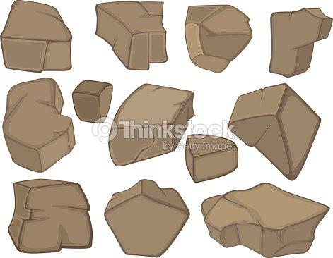 Piedras conjunto de dibujos animados arte vectorial - Dibujos de piedras ...