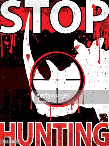 Stop hunting rhinos Vertical placard : Vector Art