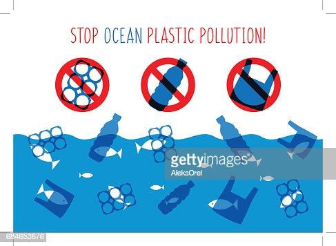 Stop ocean plastic pollution vector illustration : Vector Art