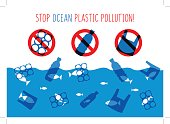 Stop ocean plastic pollution vector illustration. Plastic garbage (bag, bottle) in the ocean graphic design. Water waste problem creative concept. Eco problem banner with restrictive sign.