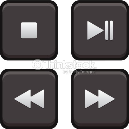 Stop Play Pause Next And Back Square Buttons stock vector