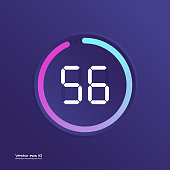 Stopwatch vector icon, digital timer. Vector digital count down circle board with circle time pie diagram. Watch outline style design, designed for web and app.