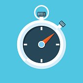Stopwatch vector flat illustration.