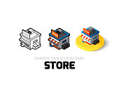Store icon, vector symbol in flat, outline and isometric style