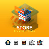 Store color icon, vector symbol in flat, outline and isometric style isolated on blur background