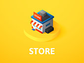 Store icon, vector symbol in flat isometric style isolated on color background