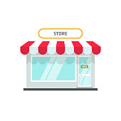 Store or shop facade vector illustration, flat cartoon small retail shop building front view with open text isolated on white background