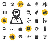 store pin location design, supermarket vector illustration on white background. Simple shopping icons set.
