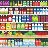 Vertical vector background, store shelves full of groceries. Vector illustration
