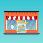 Store shop is closed/bankrupt. Flat design modern vector business concept.