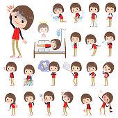 Store staff red uniform women_sickness