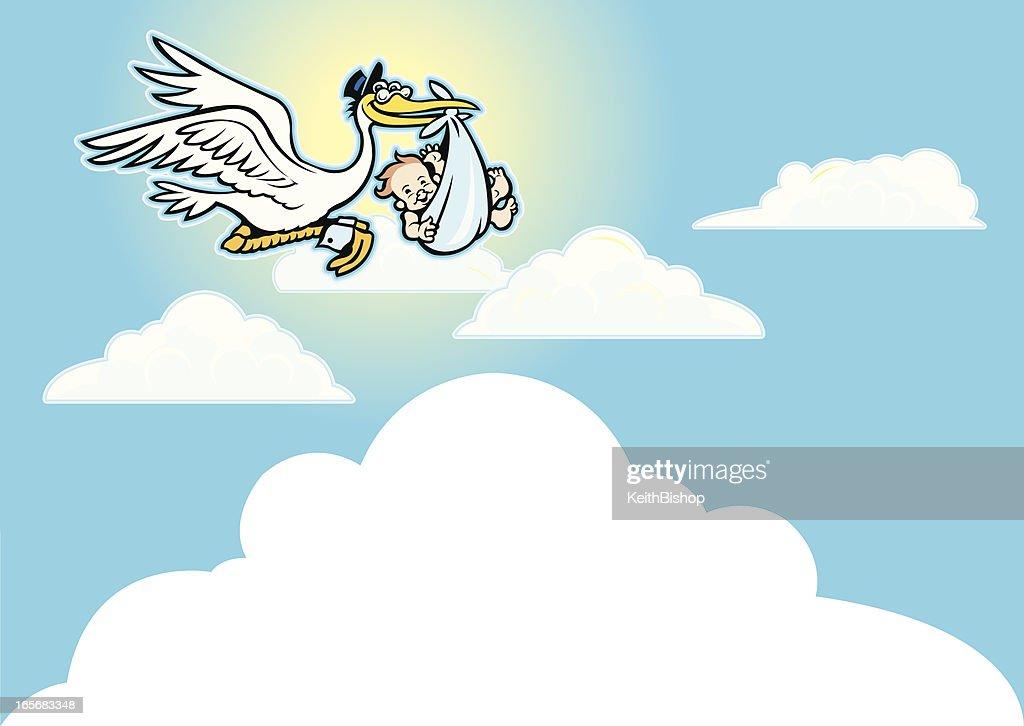 Stork Delivering a Baby Boy Background : Vector Art