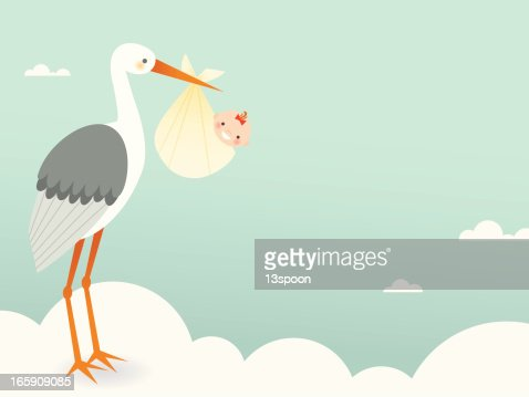 Stork's Bundle of Joy : Vector Art