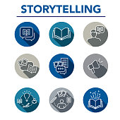 Storytelling Icon Set with Speech Bubbles and BooksStorytelling Icon Set with Speech Bubbles and Books