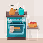 Stove in kitchen. Oven with dishes. Flat style vector illustration.