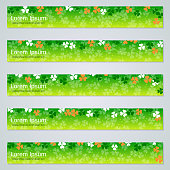 St.Patrick's Day green web banners vector templates collection