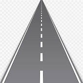 Straight road with markings isolated on transparent background. Highway, Speedway, street with asphalt. Travel concept. Vector illustration EPS 10.